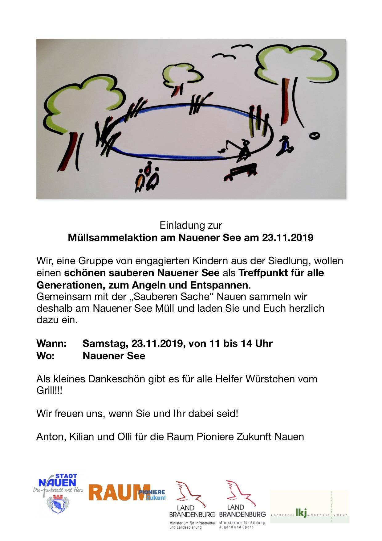 Einladung zur Müllsammelaktion am Nauener See am 23.11.19, 11:00 bis 13:00 Uhr